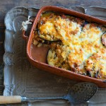 Baked eggplant with haloumi and kasseri (pseftomousakas)