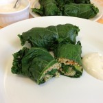 Kale and Quinoa Dolmades with Yoghurt Dipping Sauce